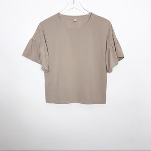 Uniqlo taupe top bell sleeves boxy style size S
